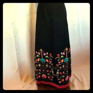Vintage 70's Wool Floral Embroidered Maxi Skirt